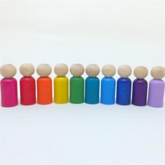 Rainbow peg dolls set - deluxe set - 10 dolls