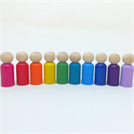 Rainbow peg dolls set - deluxe set - 10 dolls