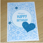 Frozen Inspired Happy Birthday card - snowflakes