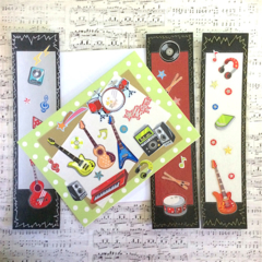 'Rock Music' Birthday Card and Three Bookmarks