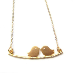 Love Birds On A Branch - On 14K gold filled chain