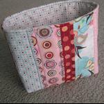 Patchwork Storage Basket / Pouch - Pink / Aqua