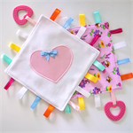 Baby girl comforter ribbon taggy blankie - babys sensory soother teether lovey