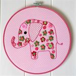 Pink elephant hoop art