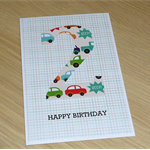 Any age Birthday Card - cars trucks - can be personalised with a name