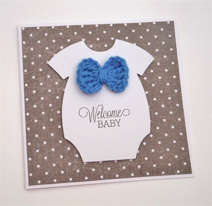 Welcome Baby Onesie With Crocheted Bow Tie Avaday Creations