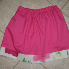 Girls skirt - Pink with floral trim size 3
