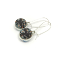 Double Sided Earrings - Fabric Button Kimono Blue Shades