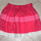 Girls skirt - Scarlet with floral trim size 3