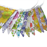 Vintage Bunting - Retro Pretty Multi-Colour Floral Flags. Party, Home Decoration