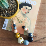 "Hand-painted Wooden Necklace - ""Nancy loves her neutrals!"