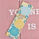 Fabric Bookmark, Blue, Sea Green and Yellow Floral