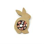 Kimono Easter Bunny Brooch - Pink and Black Blossom