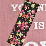 Fabric Bookmark, Fluoro Pink, Yellow, Orange and Black Floral