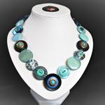 Beaut Buttons - Opal Blues button necklace