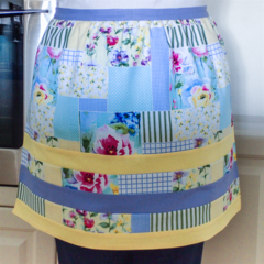 Half Apron - Retro Cottage Chic apron - lined cotton apron