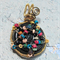 Wirewrapped Black  Glass Lampwork Star Pendant