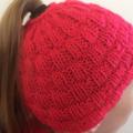 Hand knitted messy bun/ponytail hat beanie
