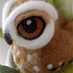 Brown needle felted owl