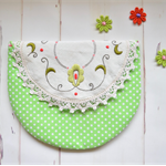 Green pouch, embroidered purse, Mothers day gift, doily clutch