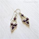 Silver Seed Bead Purple Diamond Sterling Silver Earrings