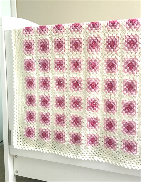 Crochet blanket, wool, white, bedding, pink, newborn gift