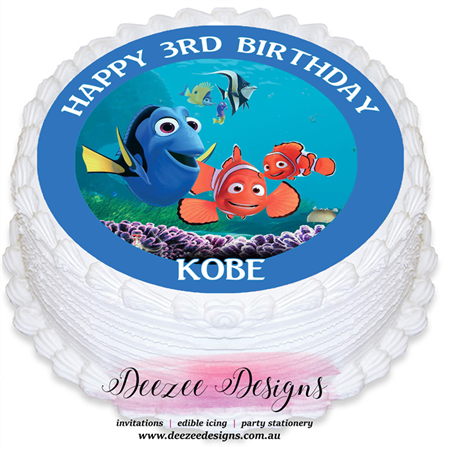 Finding Nemo Personalised Round Edible Icing Cake Topper - PRE-CUT