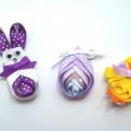 Easter bunny, chick & egg ribbon hair clips set