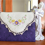 Purple clutch, upcycled doily wallet, purse, travel wallet