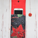 Phone wallet, Poinsettia cover, IPod cover, mobile pocket