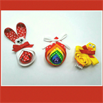 Easter bunny, chick & egg ribbon hair clips set