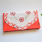 Red embroidered wallet, doily purse