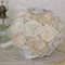 Fabric Bouquet, Cream and Ivory Satin and Lace Brooch Bouquet