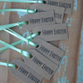 24 Happy Easter Tags with Mint Green Satin Ribbon
