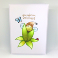 Original Design - Nature Baby 'You Make My World Happy' Hand-Coloured C6 card