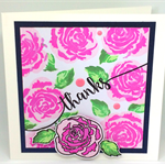 Rosie Pink in Bloom - 'Thanks' Square Card