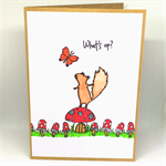 Curious Squirrel on a Toadstool 'What's Up?' Hand-coloured C6 card
