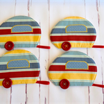 Caravan mug rug set, Retro striped drink coasters