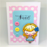 Retro Pinup Polka Dot 'Sweet Day' Hand-coloured C6 card
