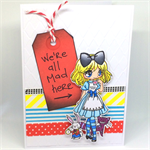 Alice 'We're All Mad Here' C6 Hand-coloured Greeting Card