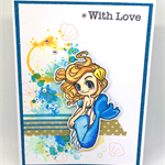 Sassy Mermaid 'With Love' Hand-coloured C6 card