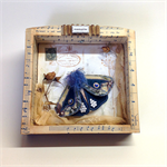 BLUE FABRIC MOTH, Soft Sculpture, Shadow Box Assemblage