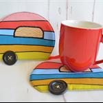 Caravan coaster pair, cute mug rugs, gift for couple