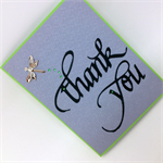 Thank You Card - Textured Grey on Green, Metal Dragonfly