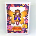 Gorjuss Butterfly Garden Girl 'Just a Note' Hand-Coloured C6 card