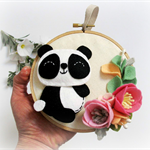 Mini Panda Wall hanging, 100% pure wool felt, mini wreath, mini wall hanging