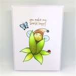 Original Design - Nature Baby 'You Make My World Happy' Hand-Coloured C6 card