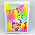 Rainbow 'Celebrate' Cute Balloon Girl Hand-coloured C6 card