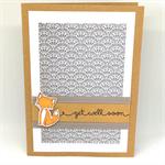 Little Fox 'Get Well' Hand-coloured C6 card