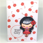 Retro Pinup Cherry Girl 'Sweet Day' Hand-Coloured C6 card
